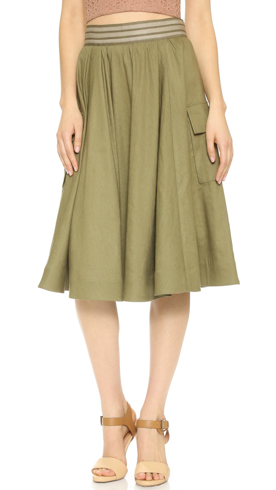 Lyst Alice Olivia Jenessa Cargo Skirt Army In Green