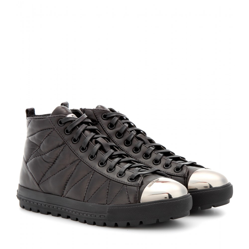 miu miu quilted leather sneakers with toe cap in black lyst. Black Bedroom Furniture Sets. Home Design Ideas