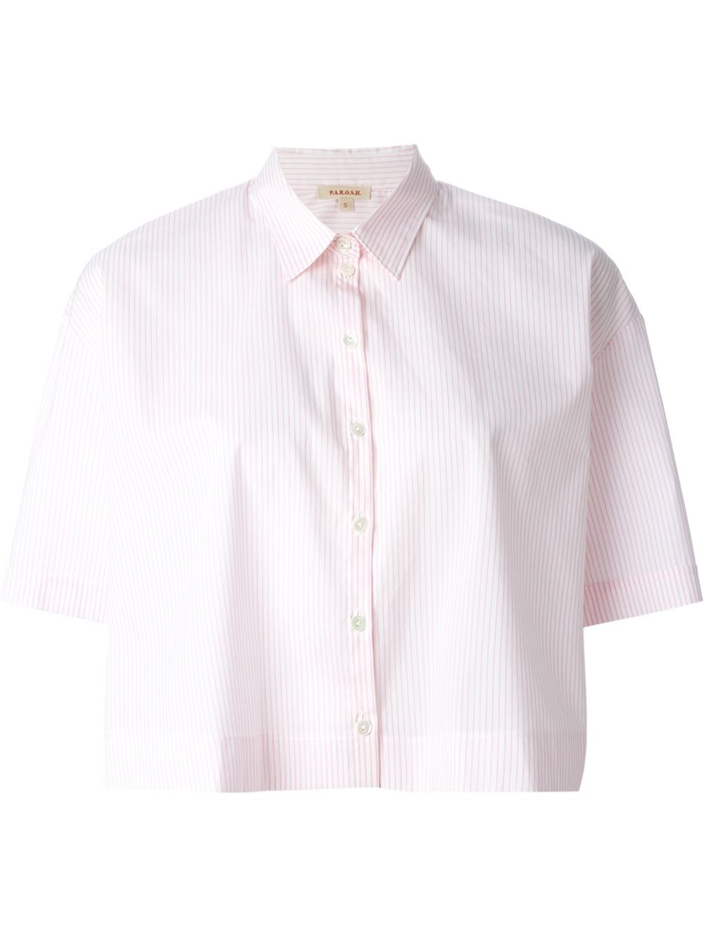 P a r o s h cropped striped shirt in pink pink purple for Pink white striped shirt