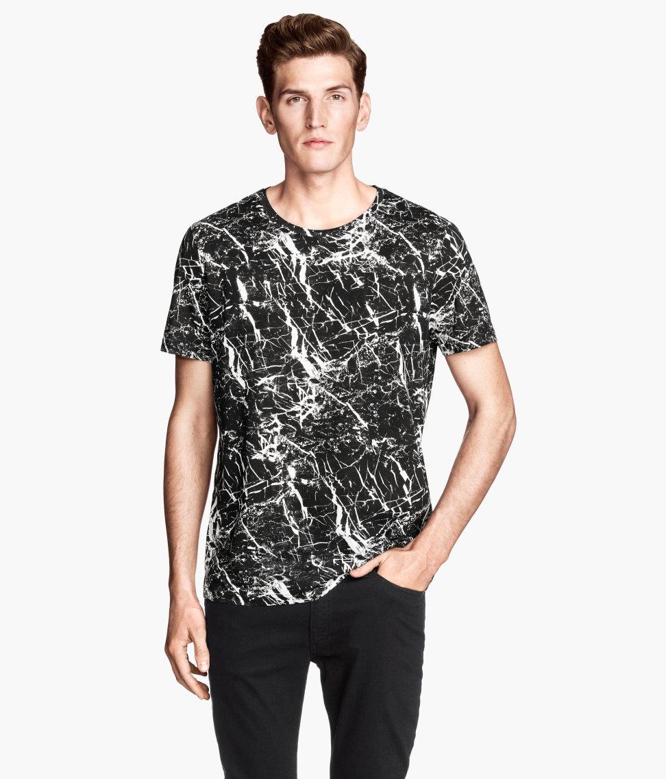 h m patterned t shirt in black for men lyst. Black Bedroom Furniture Sets. Home Design Ideas