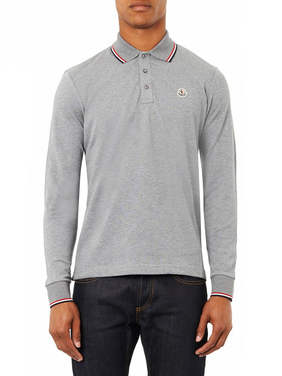 moncler grey long sleeve polo