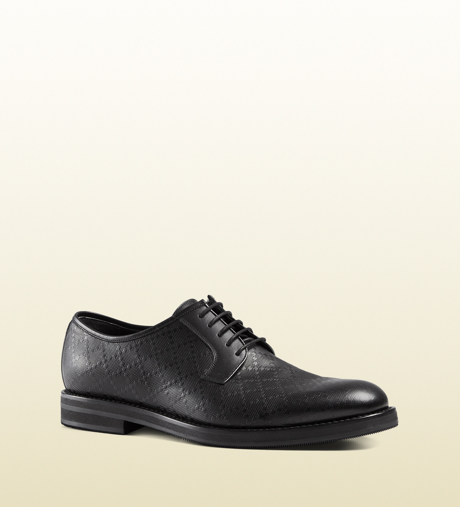 gucci diamante leather lace up shoe in black for lyst