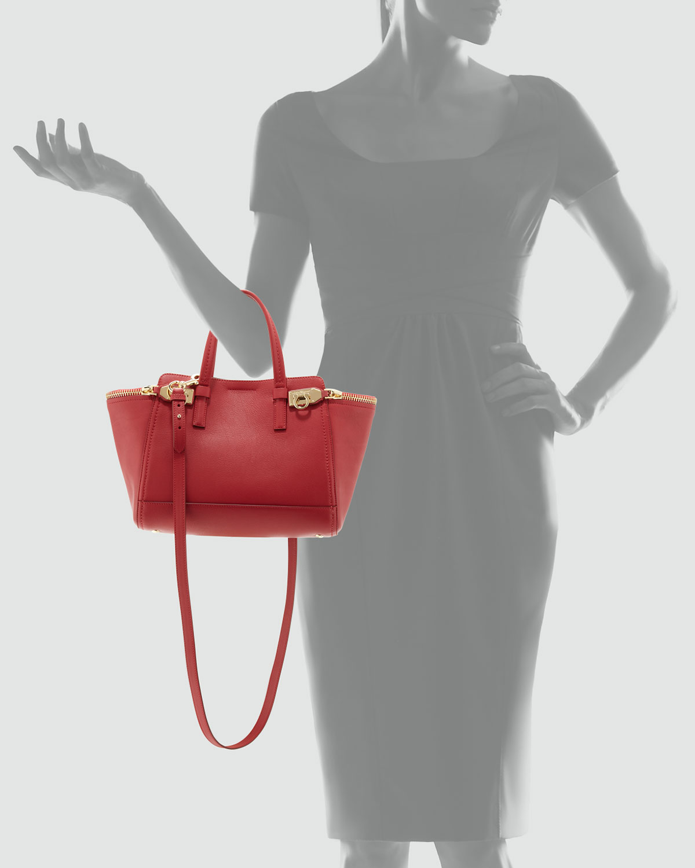 Lyst - Ferragamo Verve Light Zip-Side Tote Bag in Red 2b6656731a
