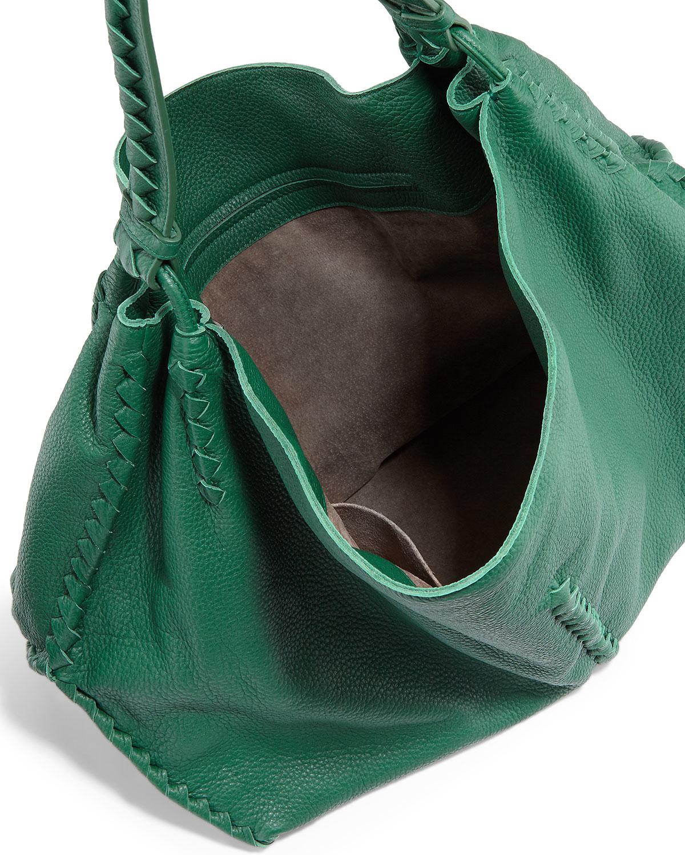 f79b0830e7 Lyst - Bottega Veneta Deerskin Woven-trim Large Hobo Bag in Green