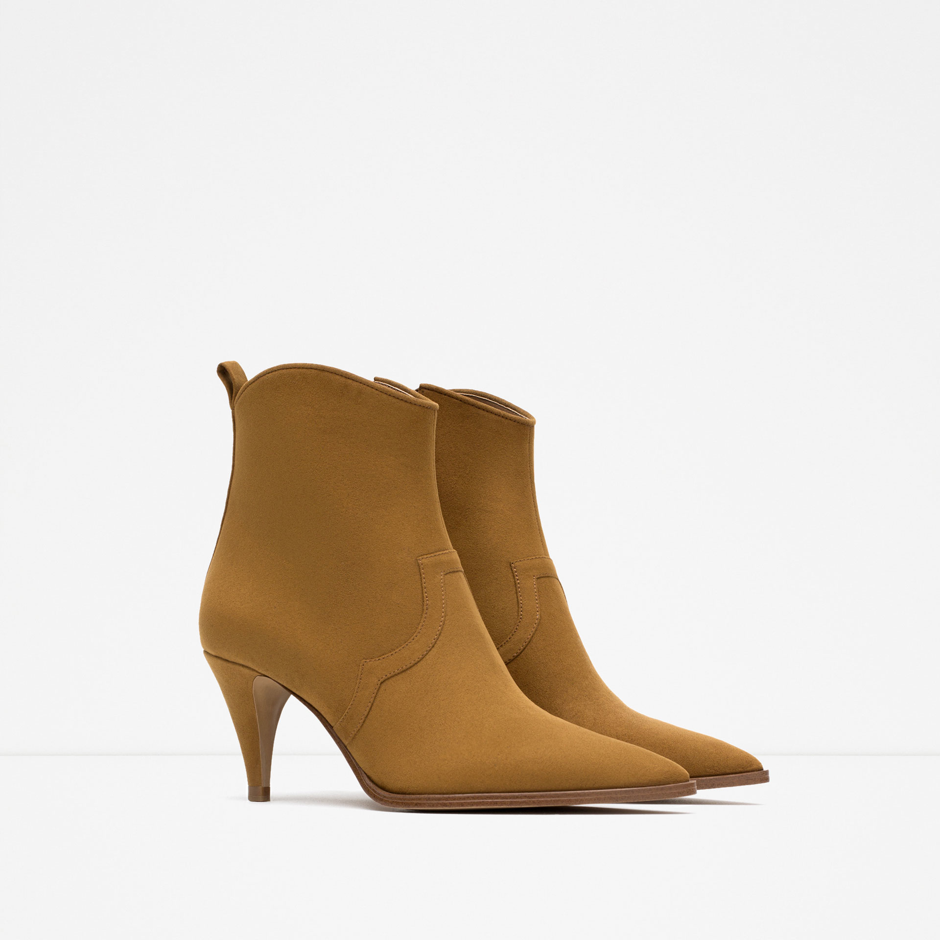 zara medium heel pointed ankle boots in lyst