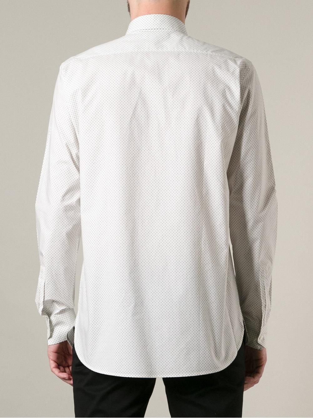035d5d86bba6c Saint Laurent Micro Polka Dot Print Shirt in White for Men - Lyst