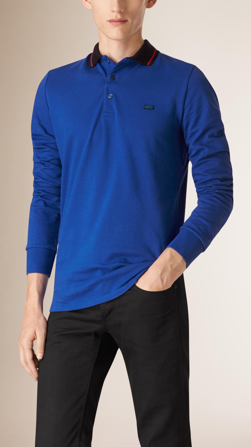 Burberry contrast tipping cotton piqu polo shirt in blue for Cobalt blue polo shirt