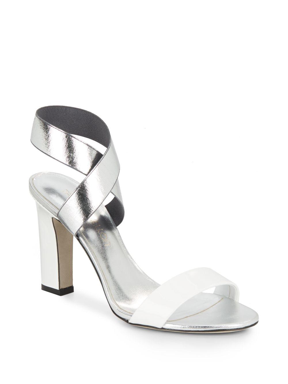 Lyst Tamara Mellon Feel Metallic Colorblock Sandals In White