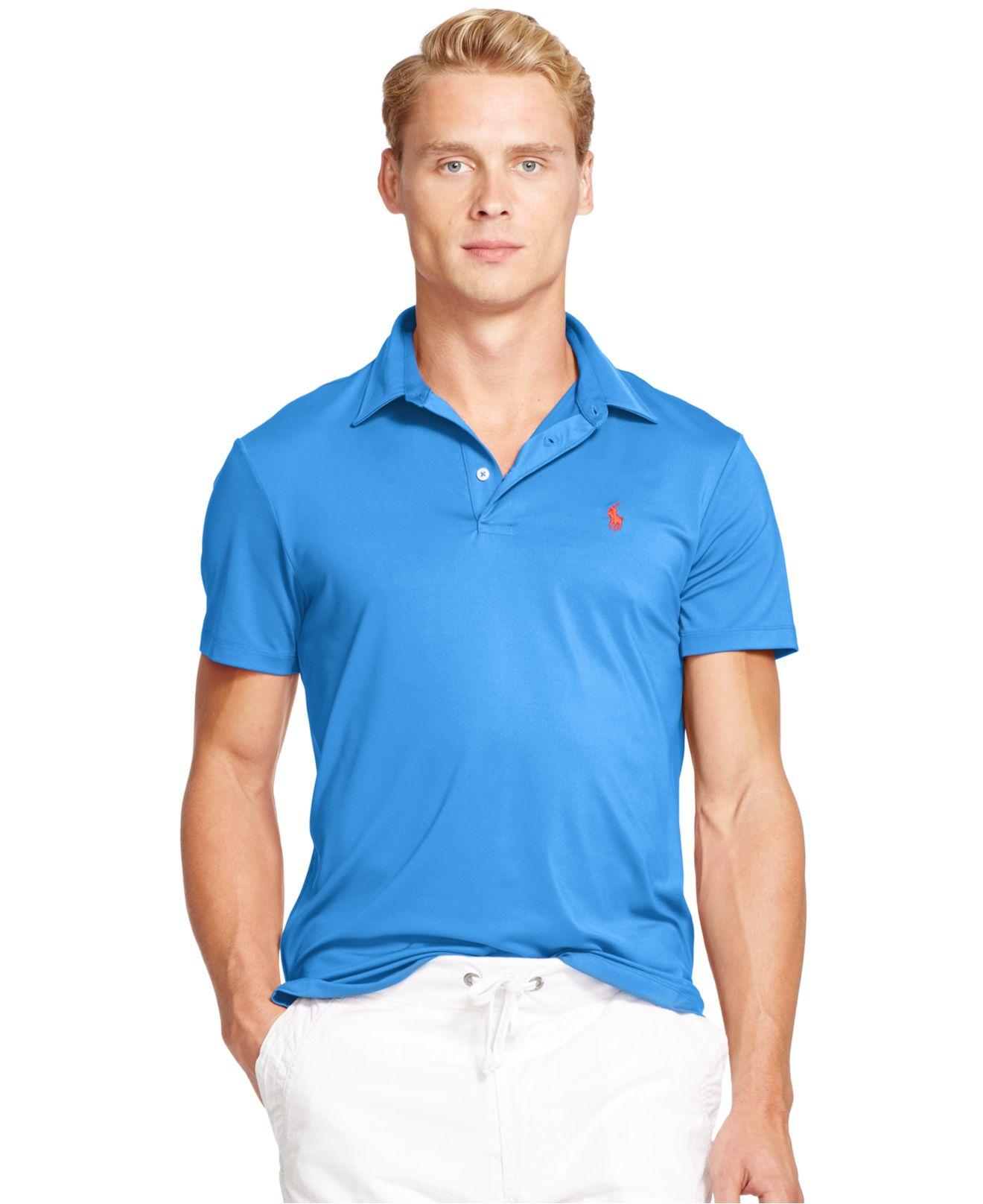 Ralph Blue Performance For Lisle Polo Lauren Men Shirt 0POkZnXNw8