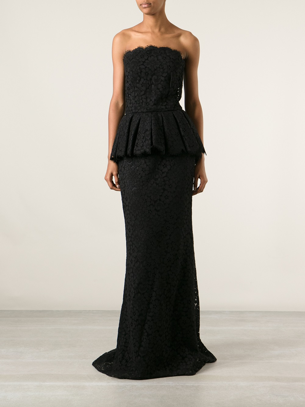 Dolce Amp Gabbana Peplum Lace Evening Dress In Black Lyst
