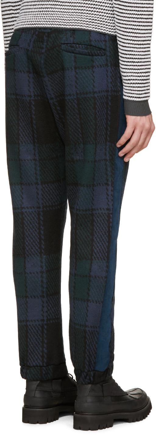 Umit Benan Blue & Green Wool Check Jogging Pants for Men