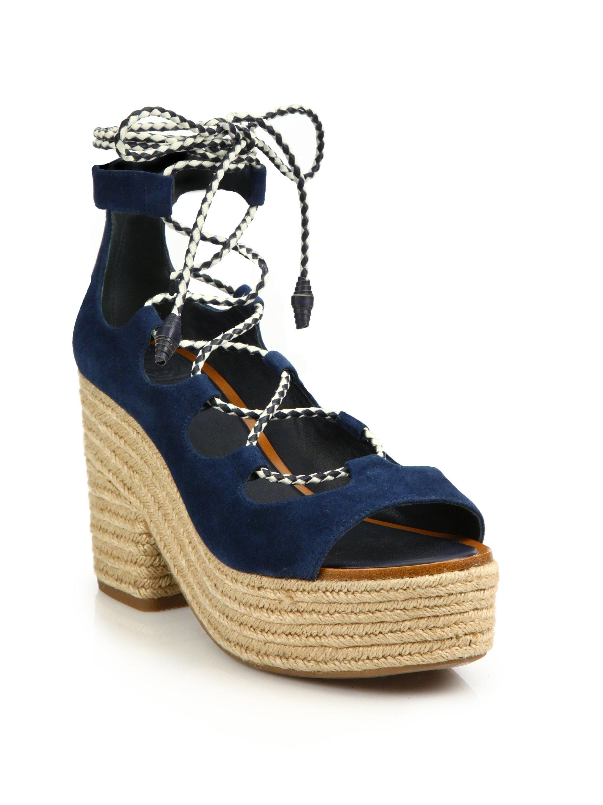 c7eff9925493 Lyst - Tory Burch Positano Suede Lace-up Espadrille Platform Sandals ...
