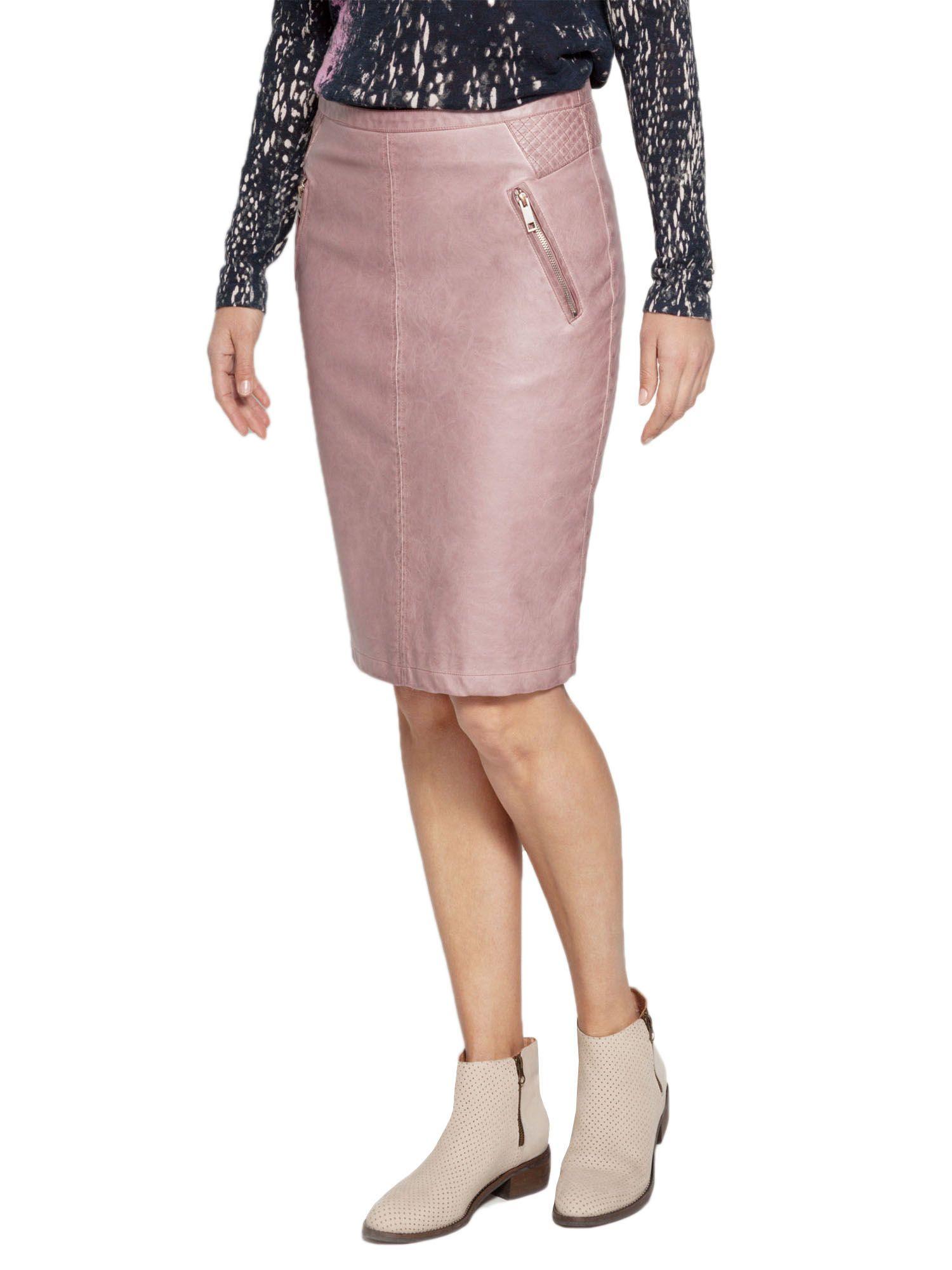 sandwich faux leather skirt in pink lyst