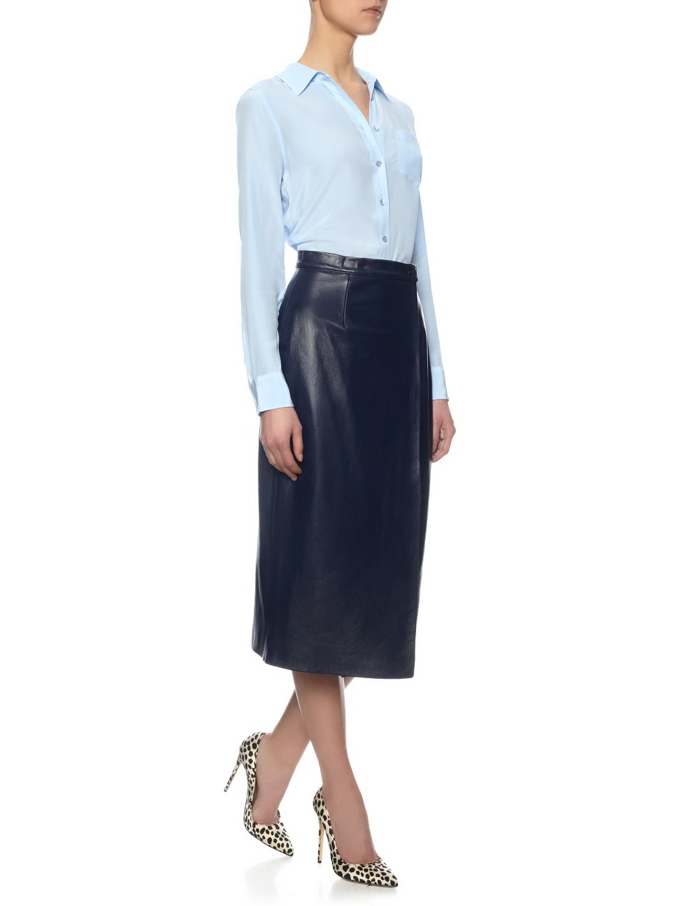 Charlie brear Navy Leather Wrapover Skirt in Blue | Lyst