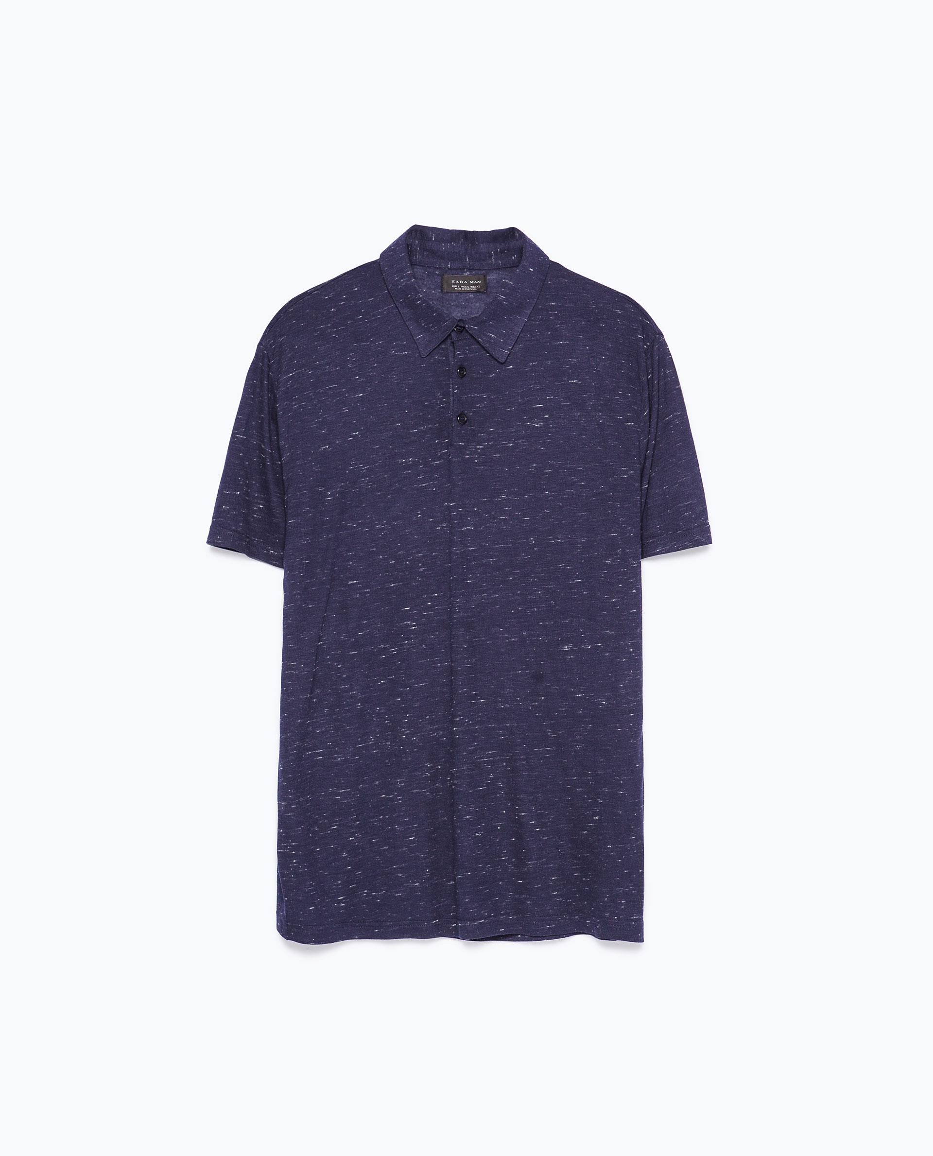 Zara short sleeve polo shirt in blue for men navy blue for Zara mens shirts sale