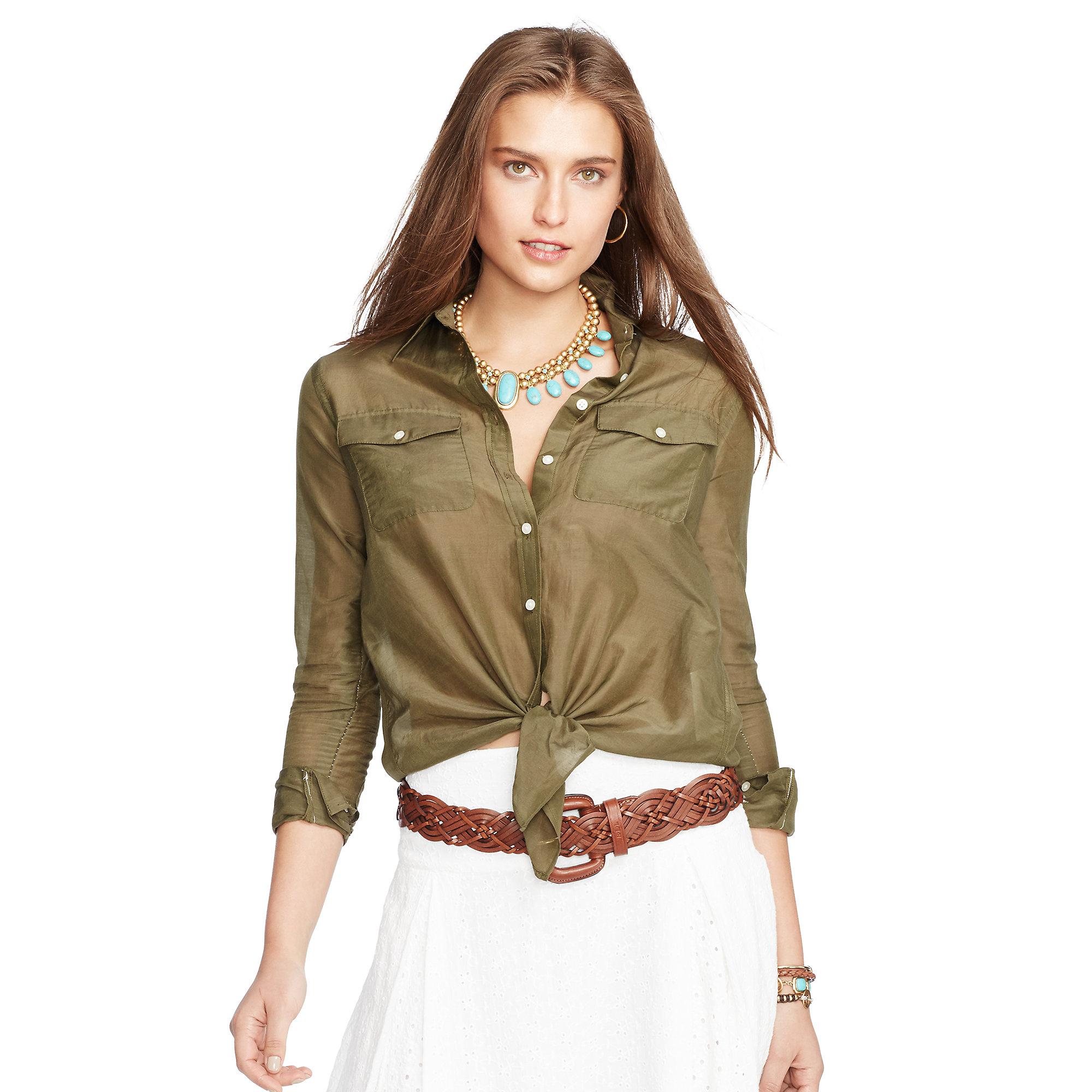 6c29648aa99 Ralph Lauren Silk-cotton Tie-front Shirt in Green - Lyst