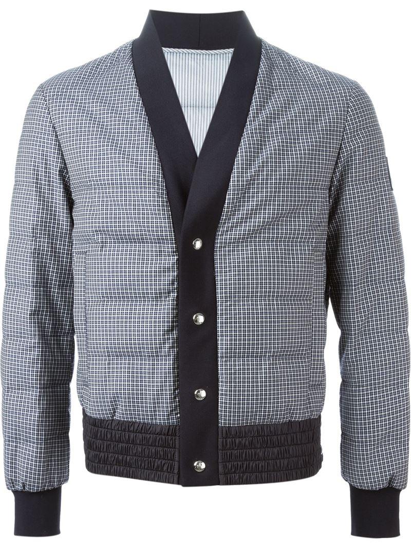 Moncler Gamme Bleu Padded Gingham Jacket in Blue for Men