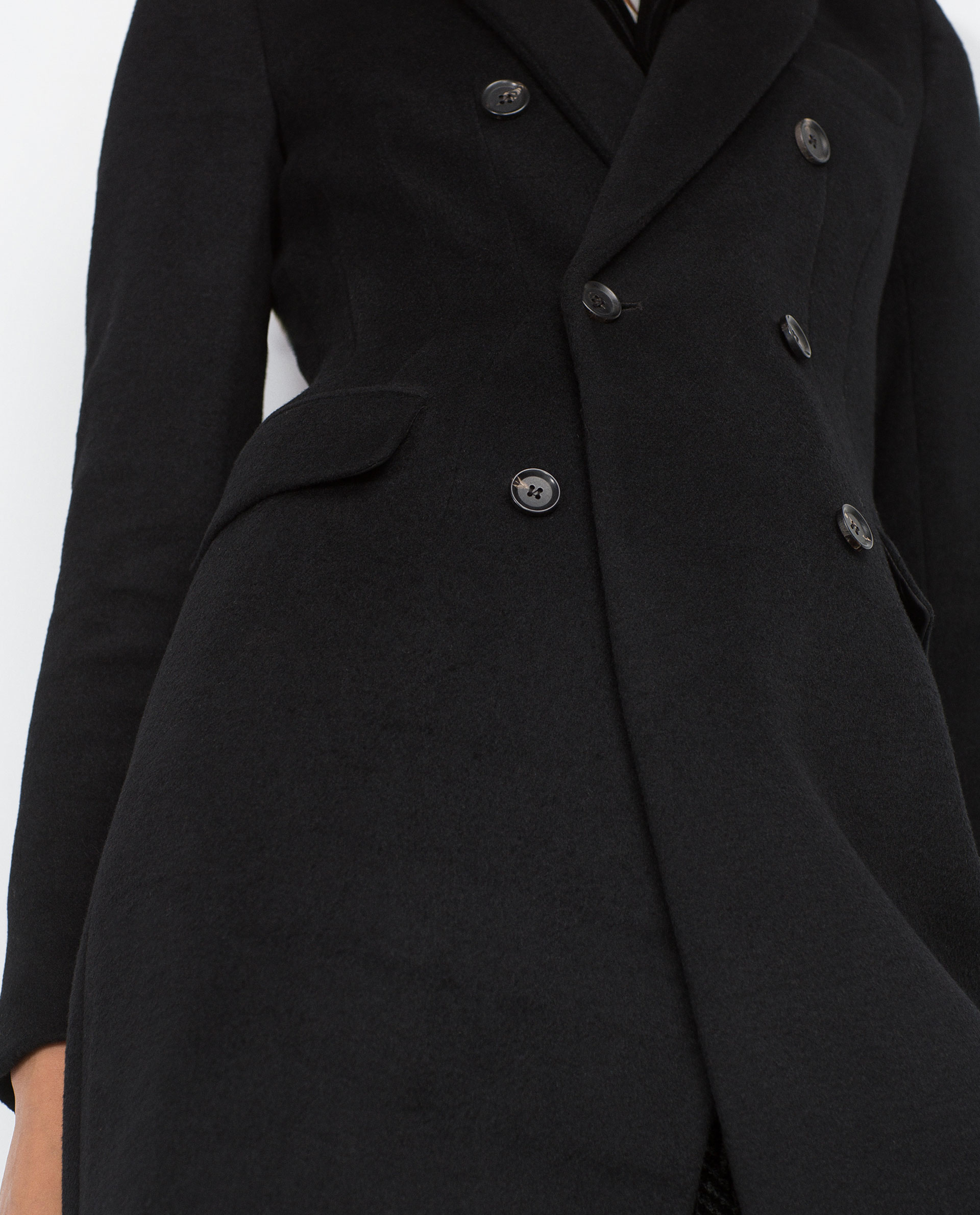 Zara Double Breasted Lapel Coat in Black | Lyst