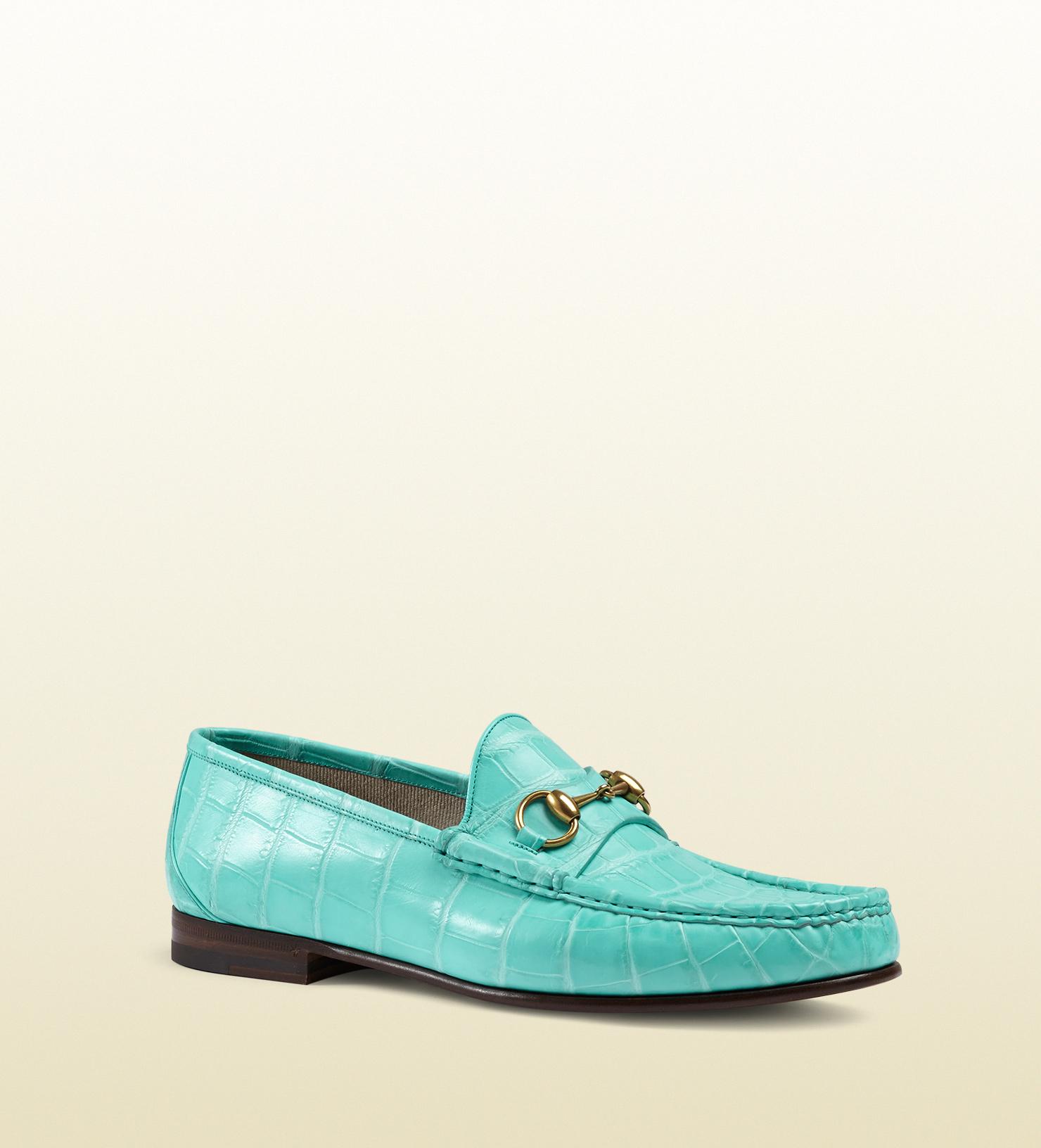 a32c8e8a8c7 Lyst - Gucci 1953 Horsebit Loafer In Crocodile in Blue for Men