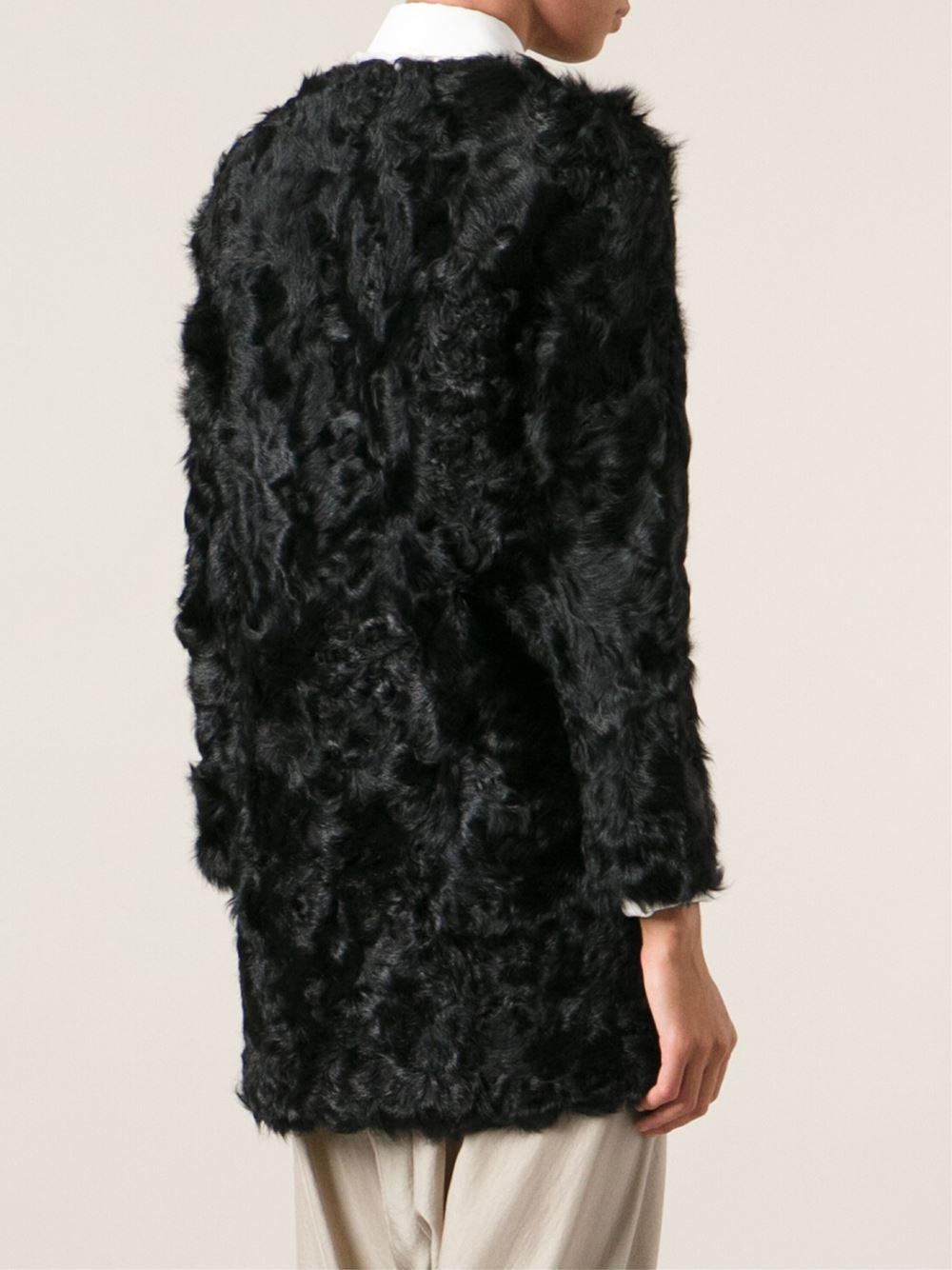Ravn Curly Lamb Fur Coat in Black | Lyst