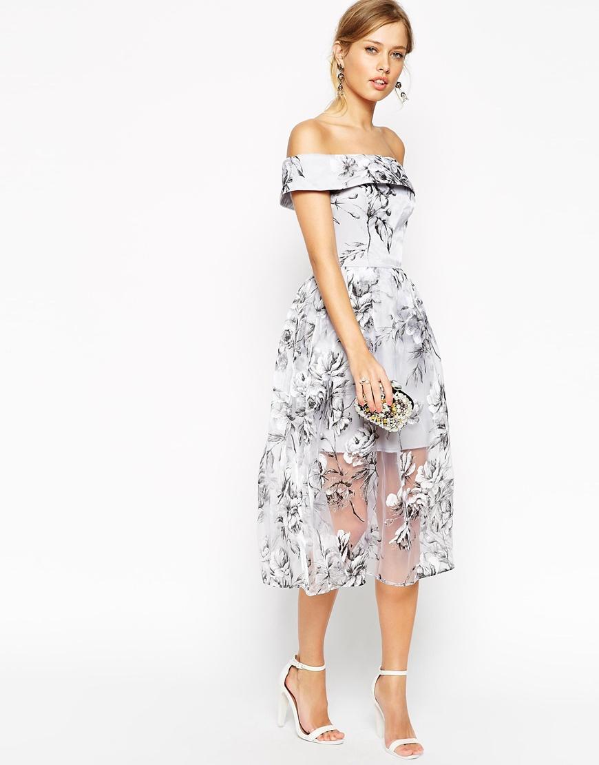 Asos Salon Bardot Dress In Organza Floral Midi in Gray | Lyst