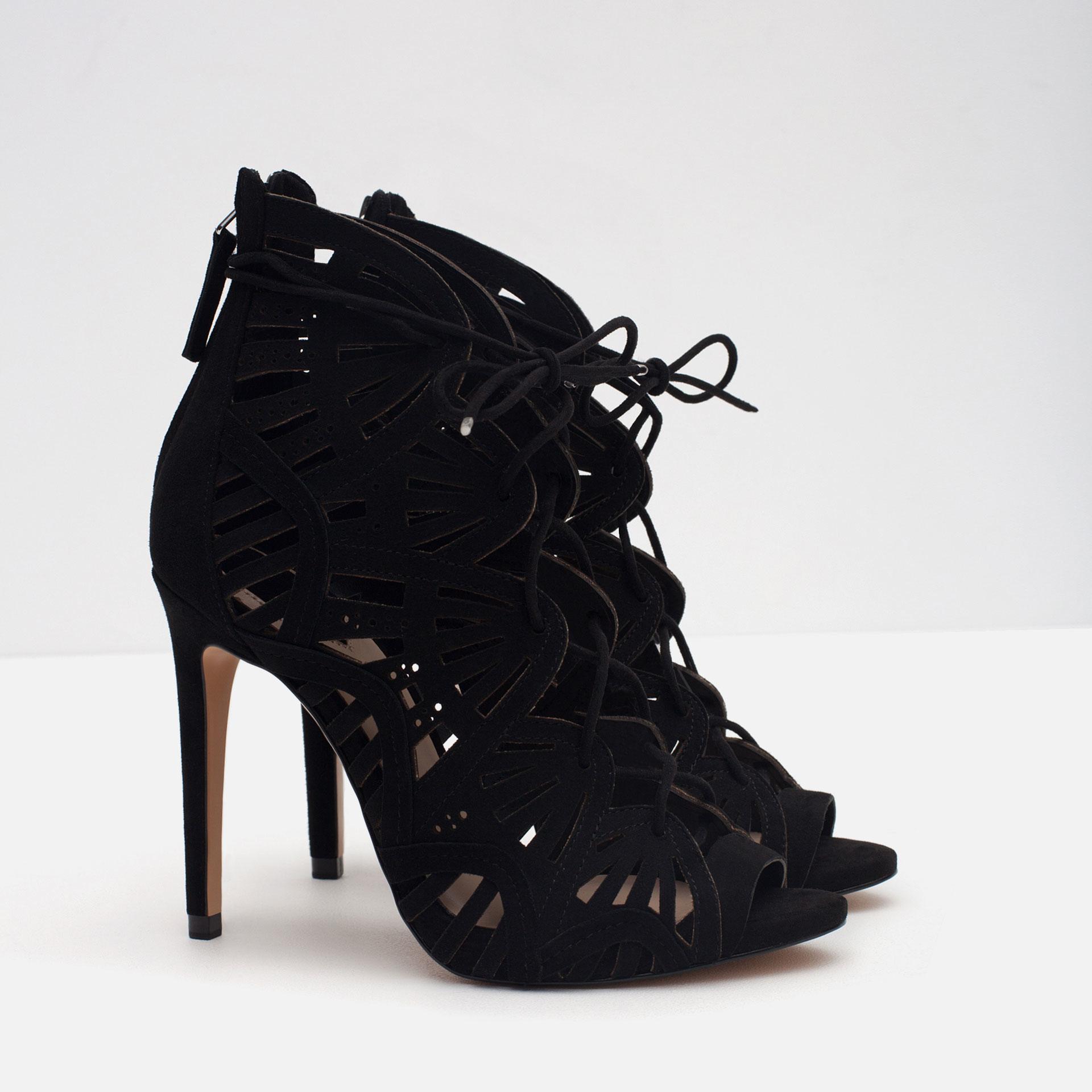 Zara Wraparound Leather Sandals In Black Lyst