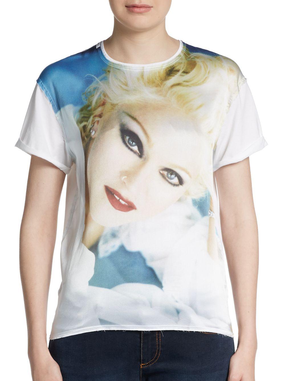 Lyst dolce gabbana madonna graphic cotton silk tee in for Cotton silk tee shirts