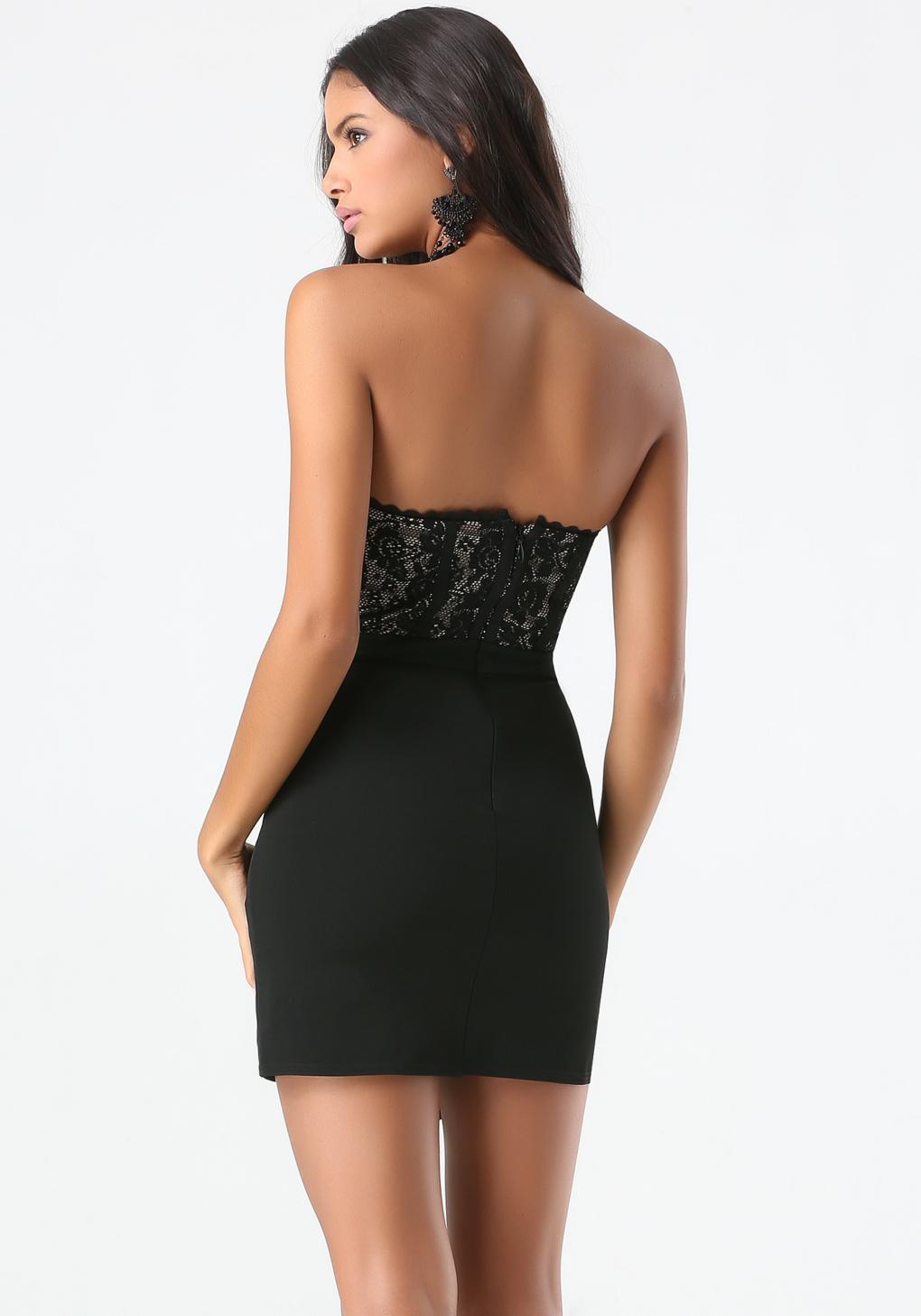Lyst Bebe Lace Bustier Dress In Black