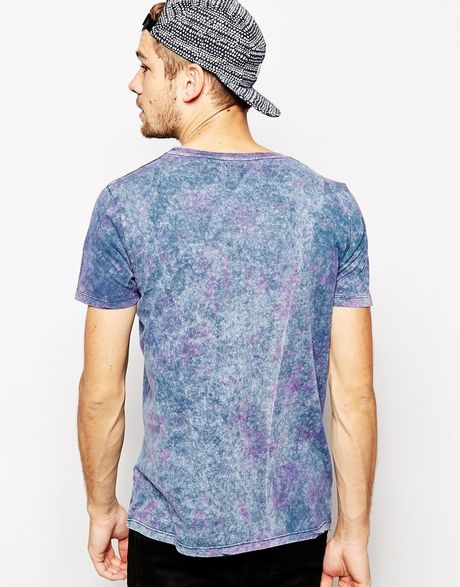 Asos T Shirt With Dip Dye And Stone Wash In Blue For Men