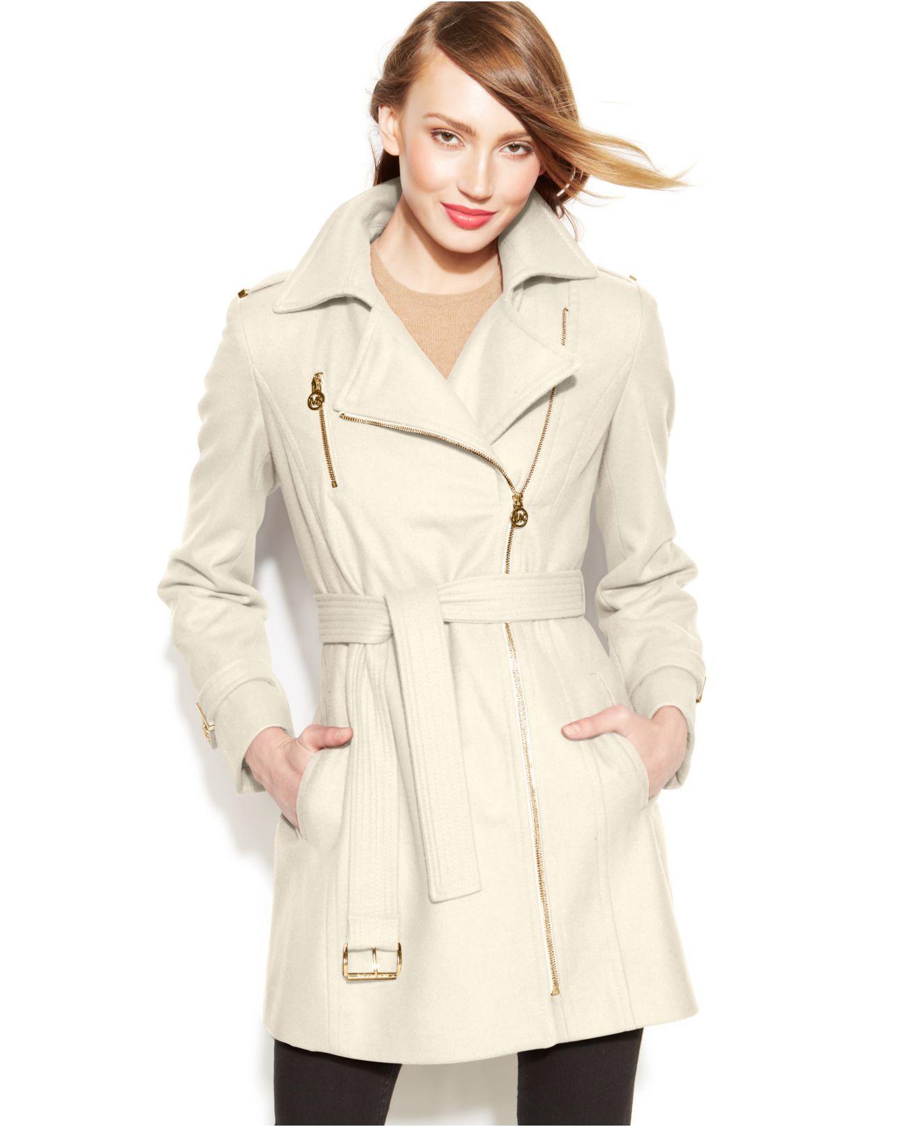 Michael kors Michael Petite Asymmetrical Belted Walker Coat in ...