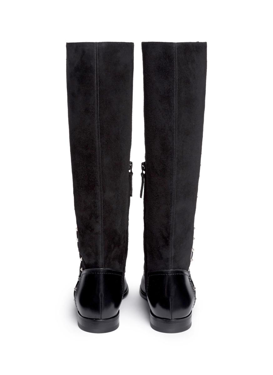Alexander McQueen Suede Shaft Stud Leather Boots in Black