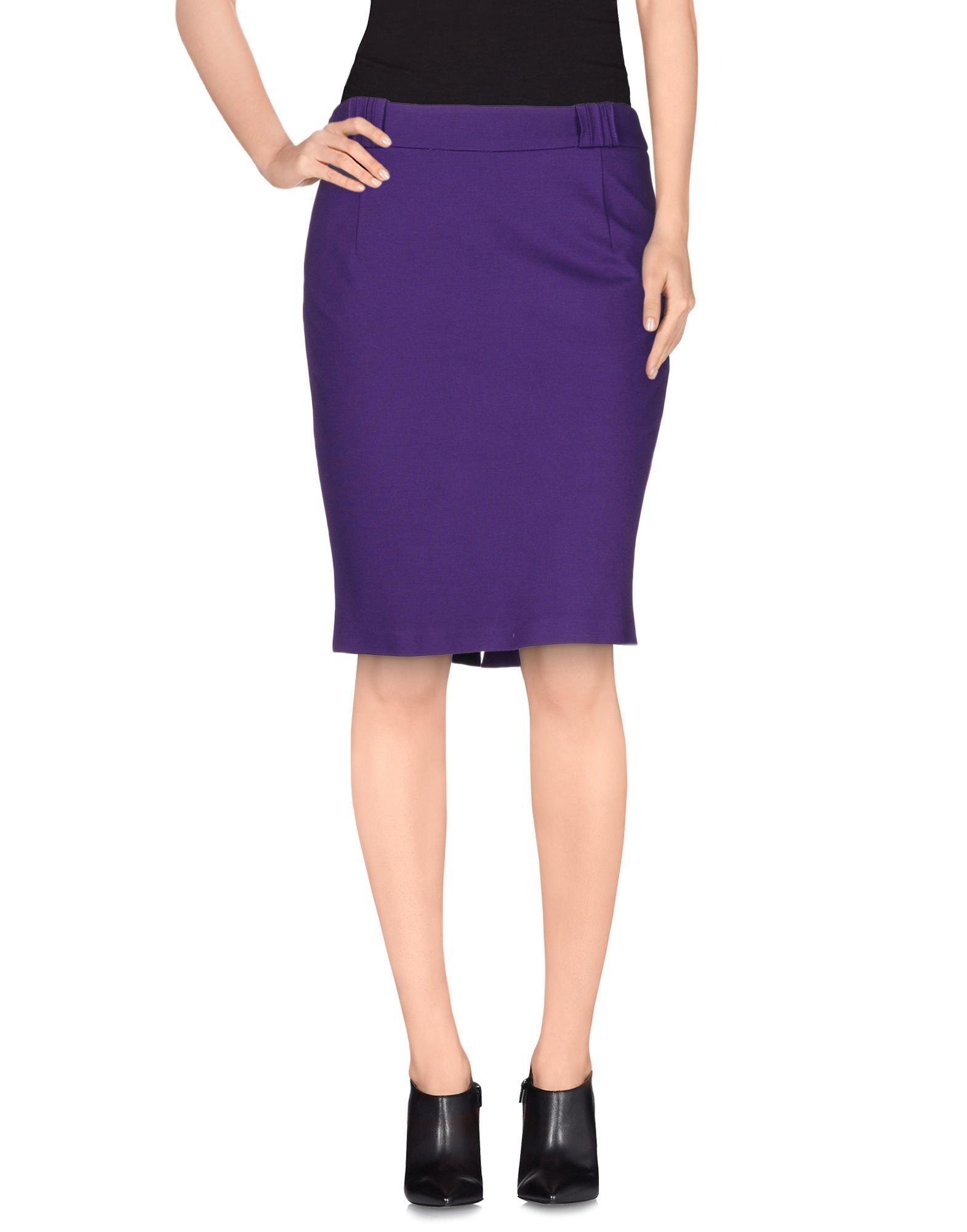 versace knee length skirt in purple lyst