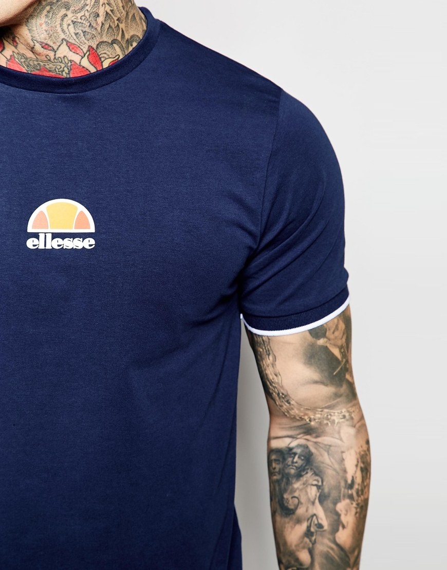 df294a62 Ellesse Blue T-shirt With Small Retro Logo Ribbed Sleeves for men