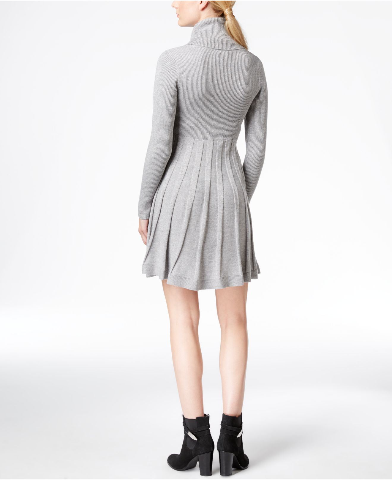 Calvin klein Cowl-neck Fit & Flare Sweater Dress in Gray | Lyst