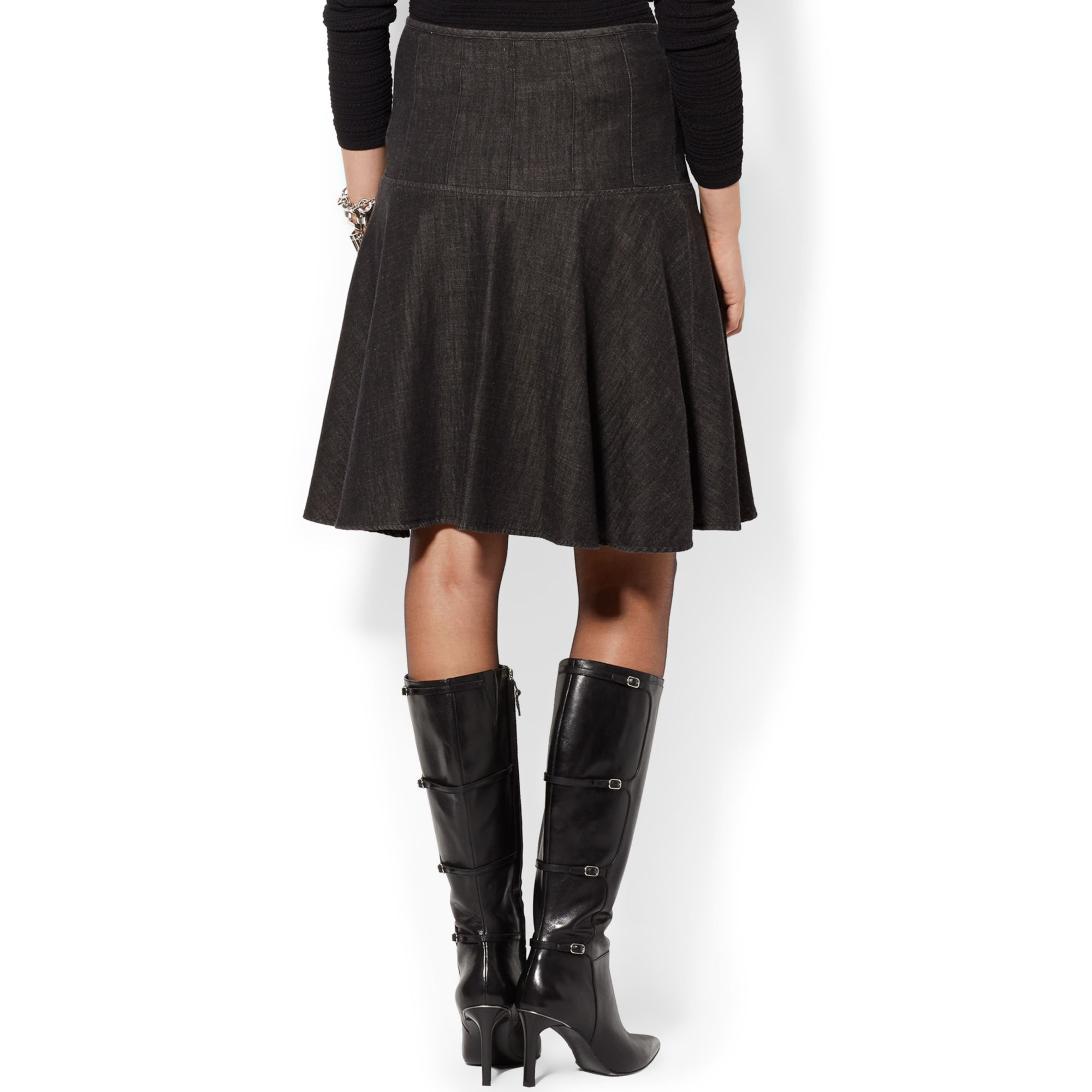 by ralph denim flare skirt in black lyst