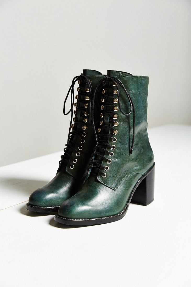 Lyst Jeffrey Campbell Caspian Lace Up Boot In Green