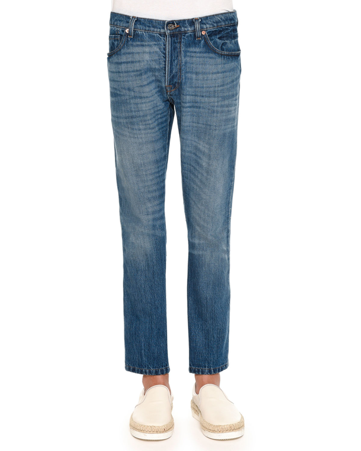 Valentino Medium-wash Jeans With Bleach Detail In Blue For