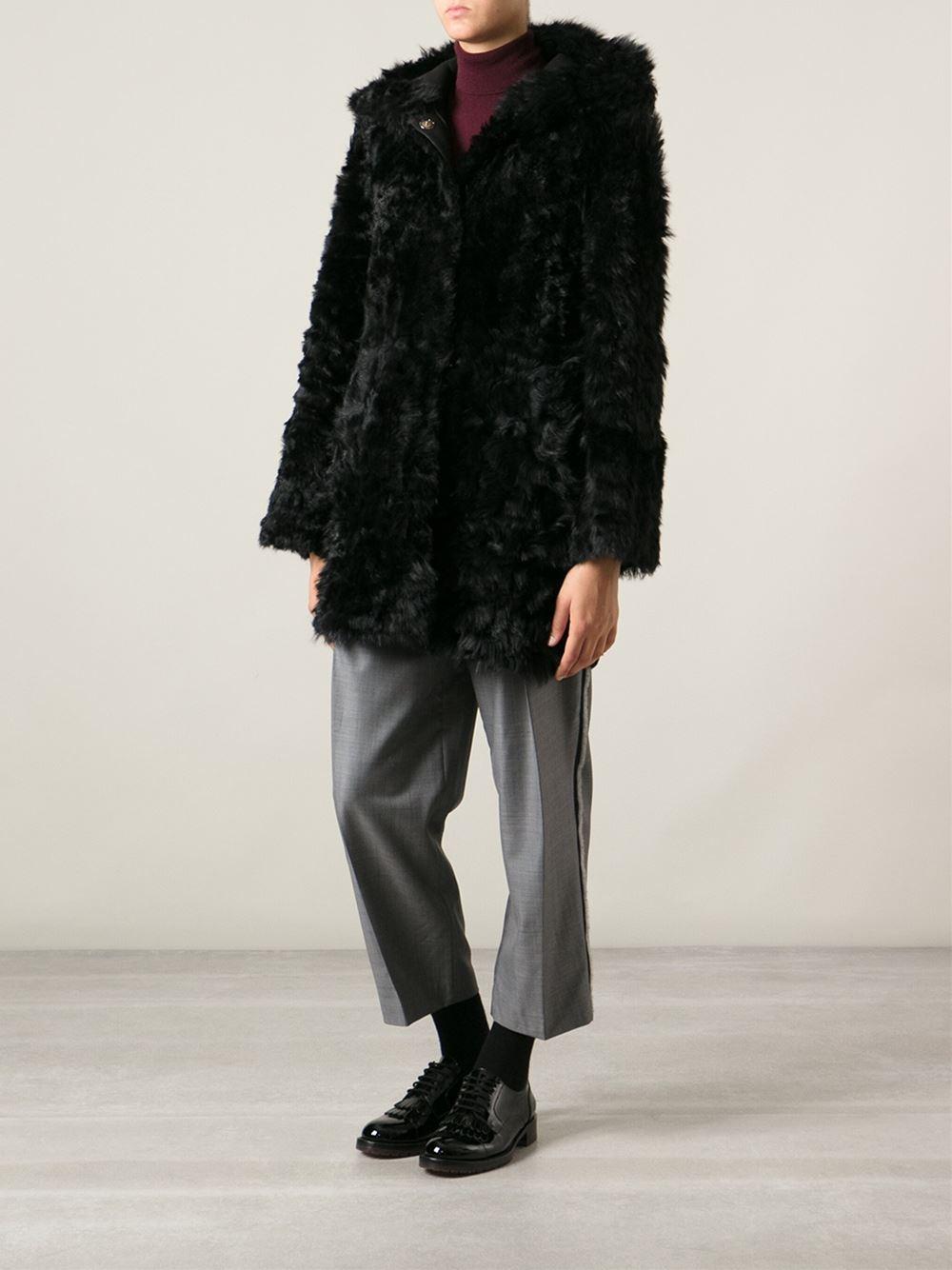 Drome Reversible Hooded Shearling Coat in Black | Lyst