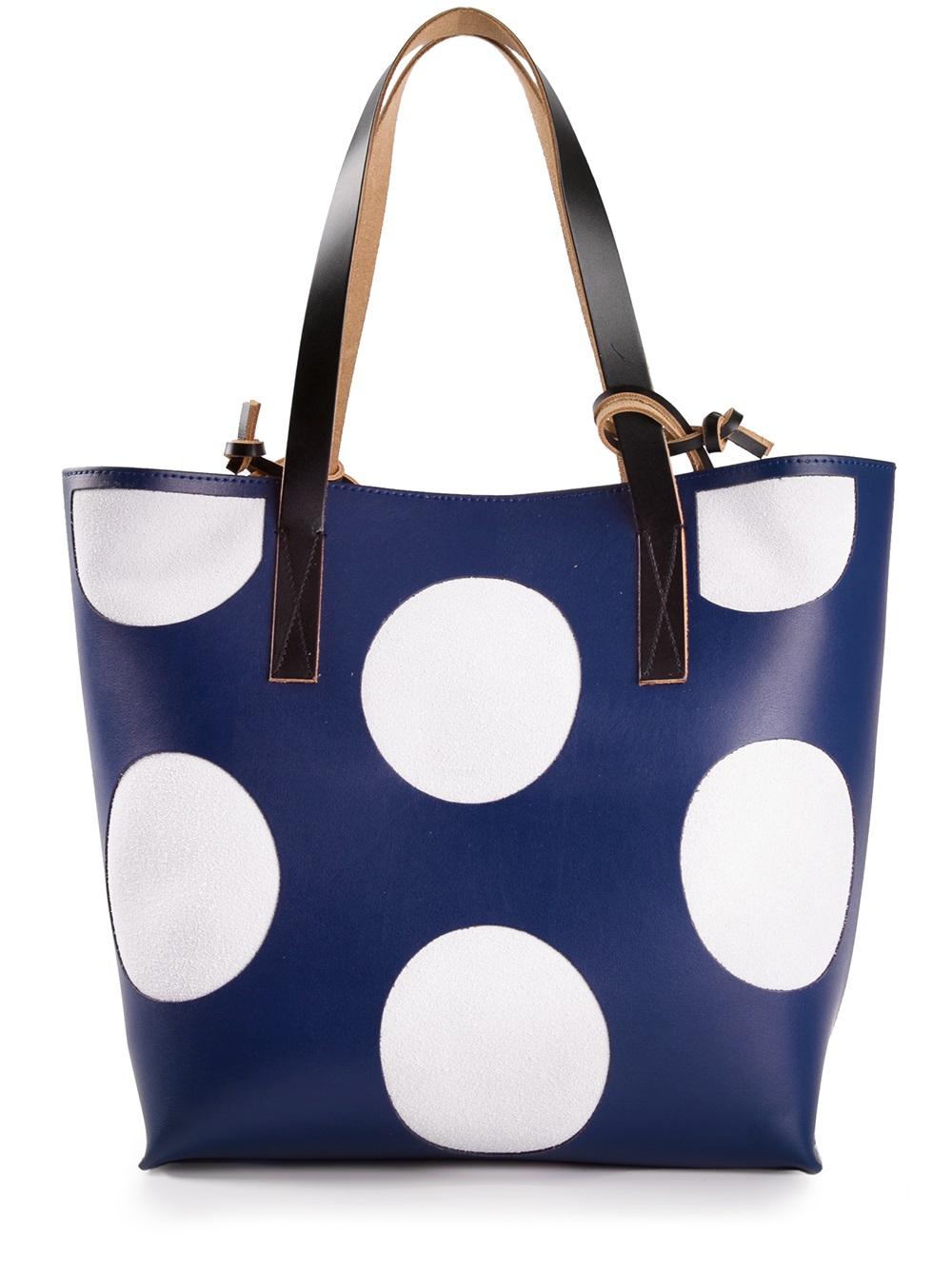 Marni Polka Dot Shopper Tote in Blue