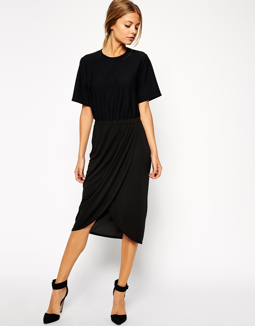 asos pencil dress with drape skirt and textured t shirt in