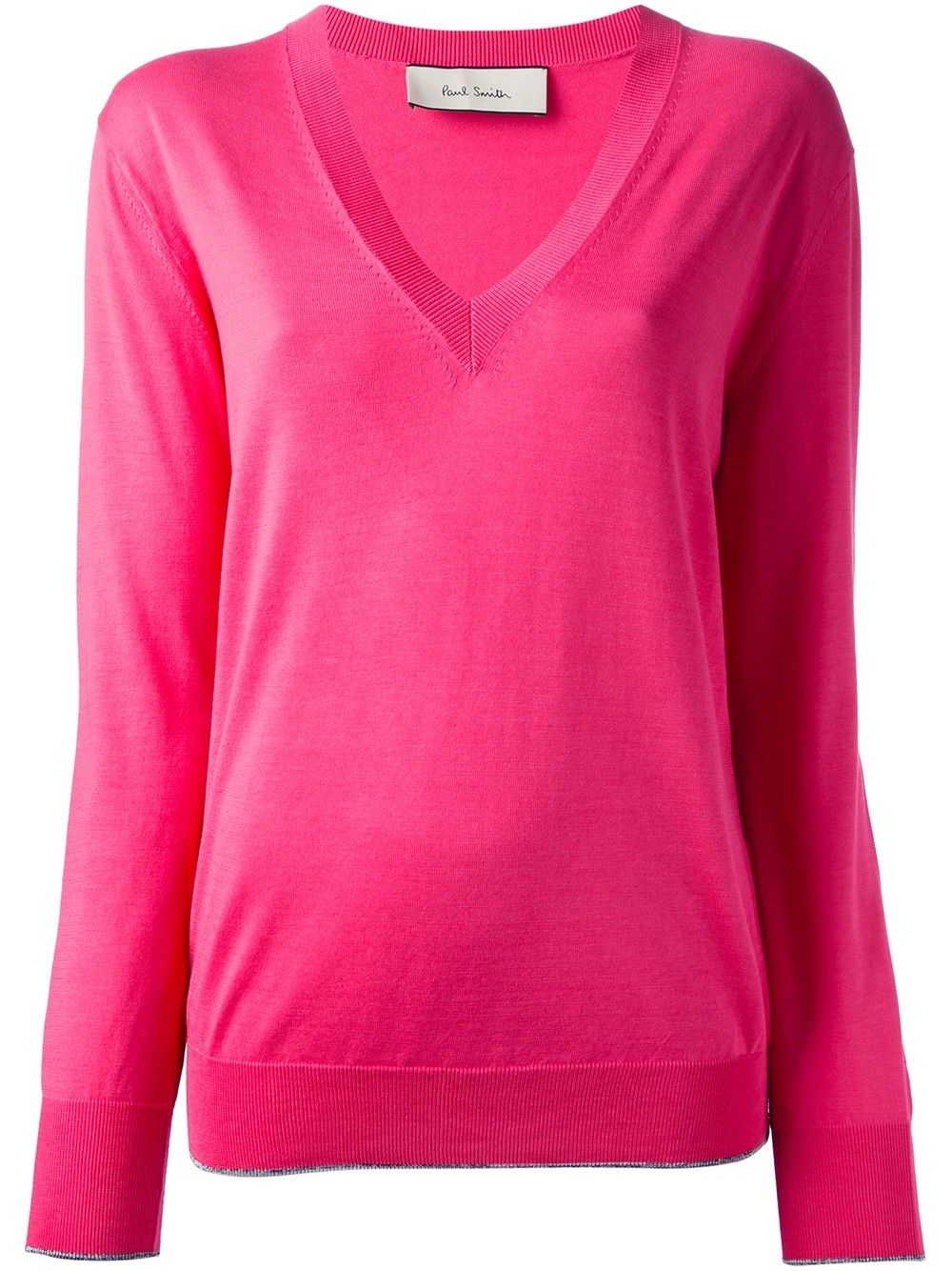 Paul smith V-neck Sweater in Pink | Lyst