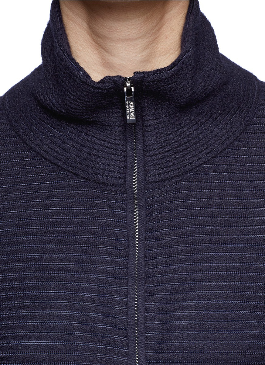 Armani Rib Knit Peplum Zip Cardigan in Blue Lyst