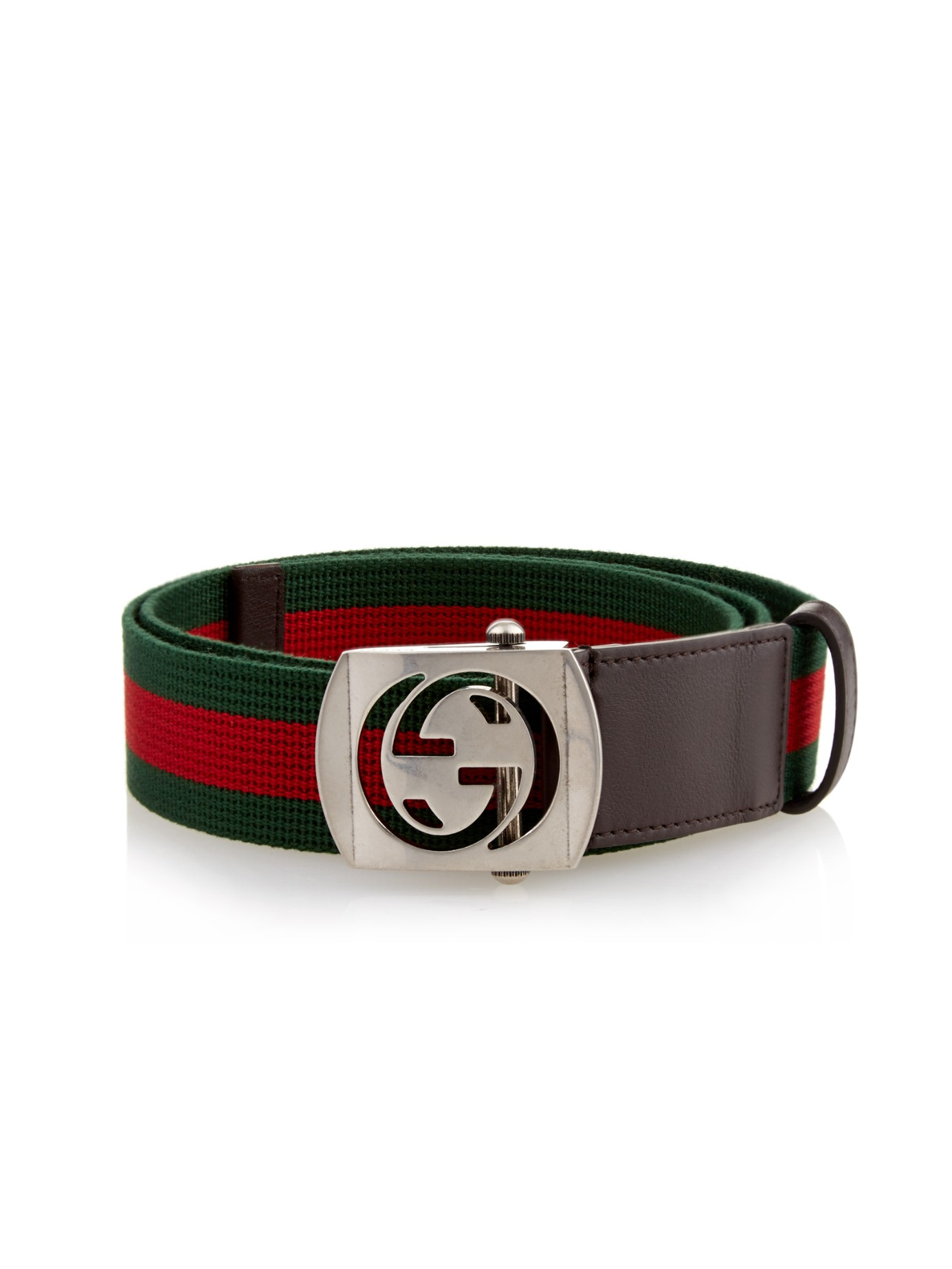 Gucci Gg-buckle Canvas Belt in Red for Men | Lyst