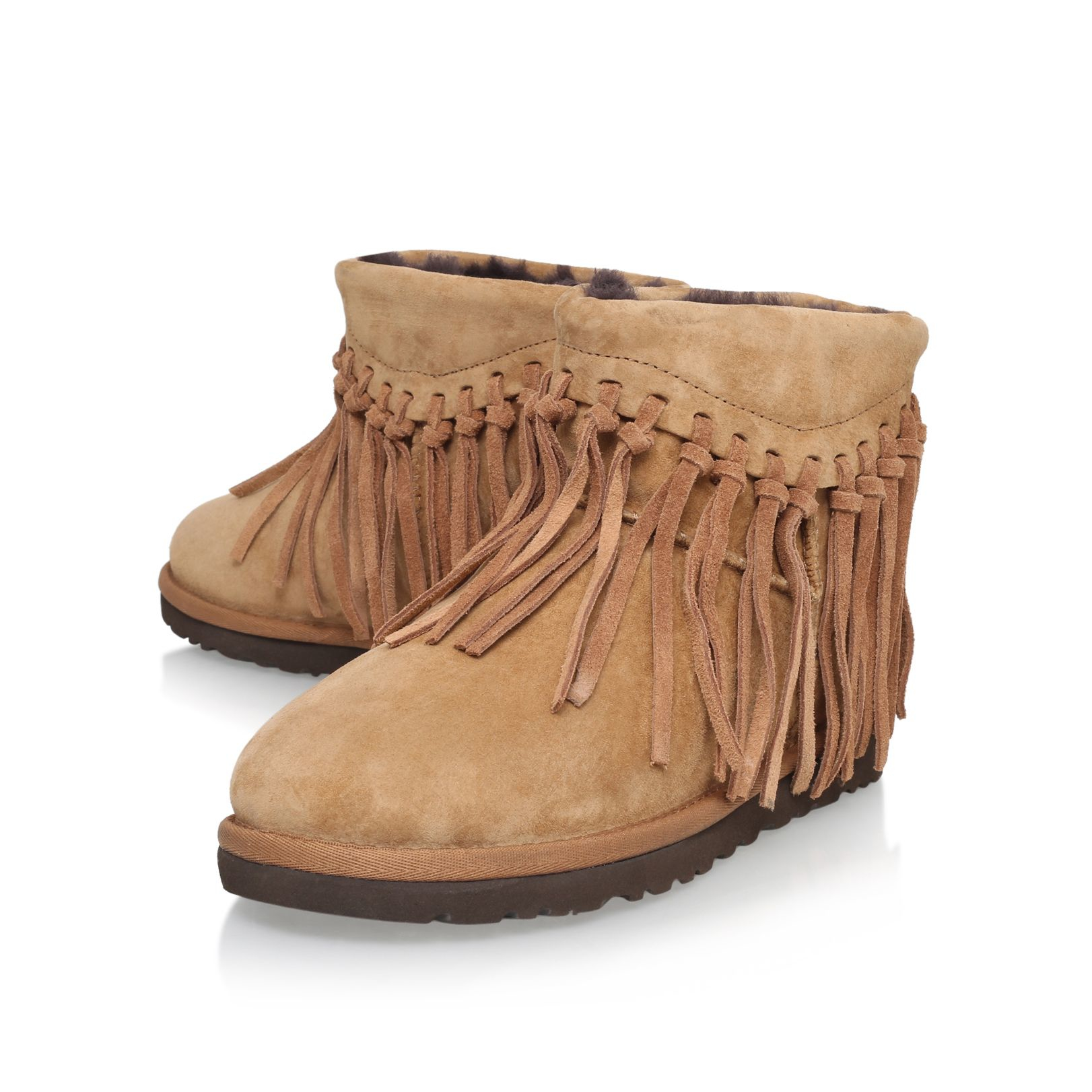ugg wynona fringe fur lined boots in brown lyst