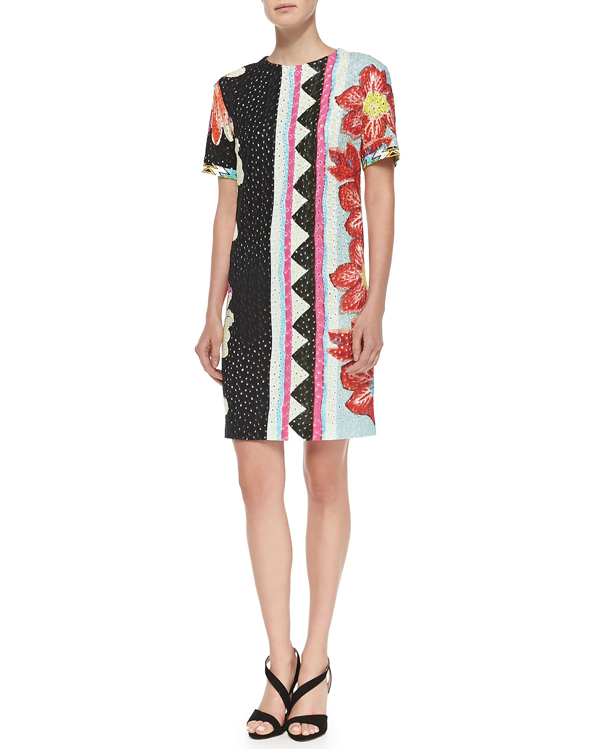 etro short sleeve zigzag floral shift dress in red lyst. Black Bedroom Furniture Sets. Home Design Ideas