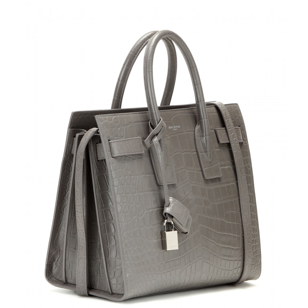 ac38dda175a4 Saint laurent Sac De Jour Small Embossed Leather Tote in Gray (fog . ...
