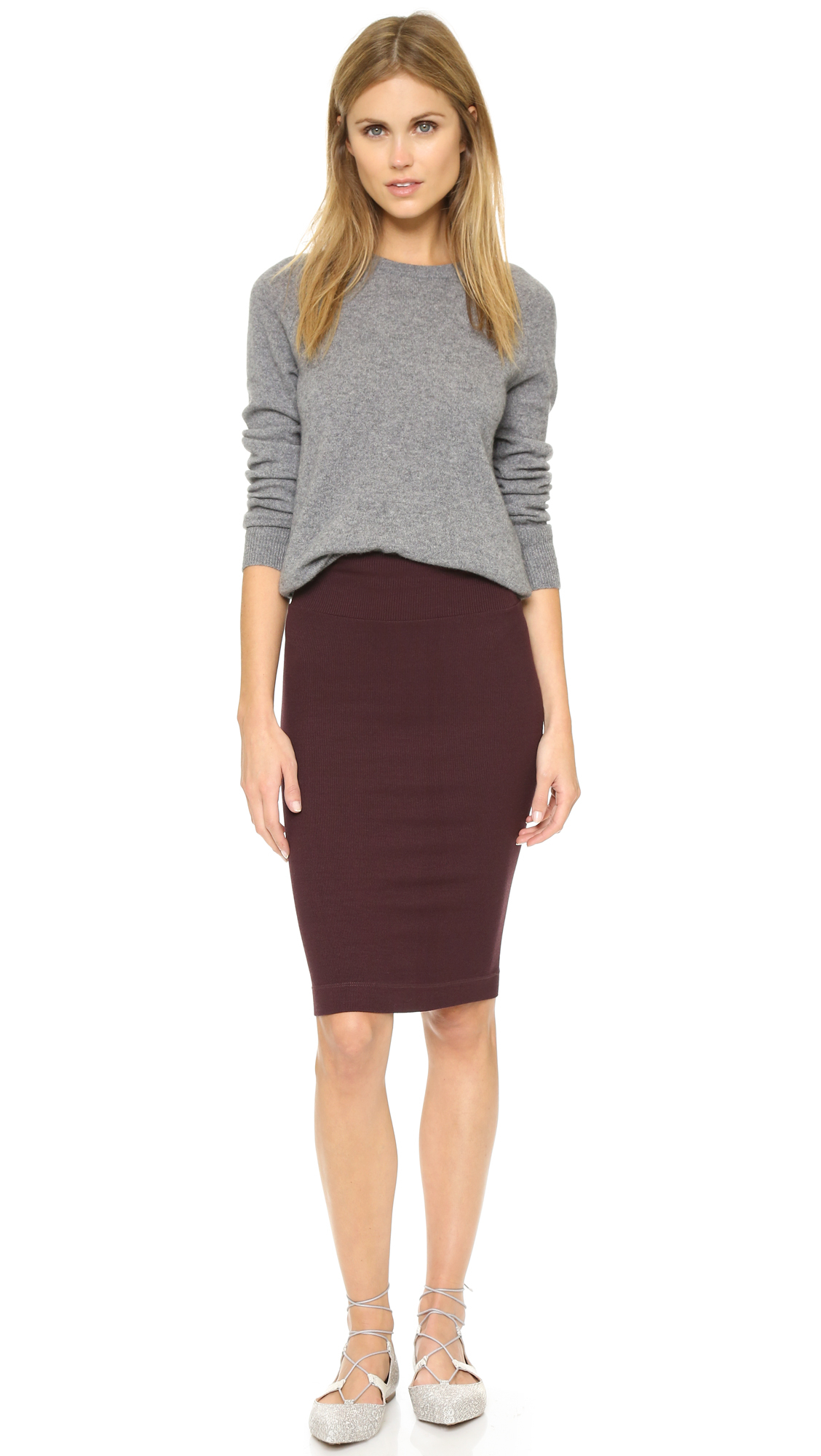 Enza costa Ribbed Pencil Skirt in Purple | Lyst