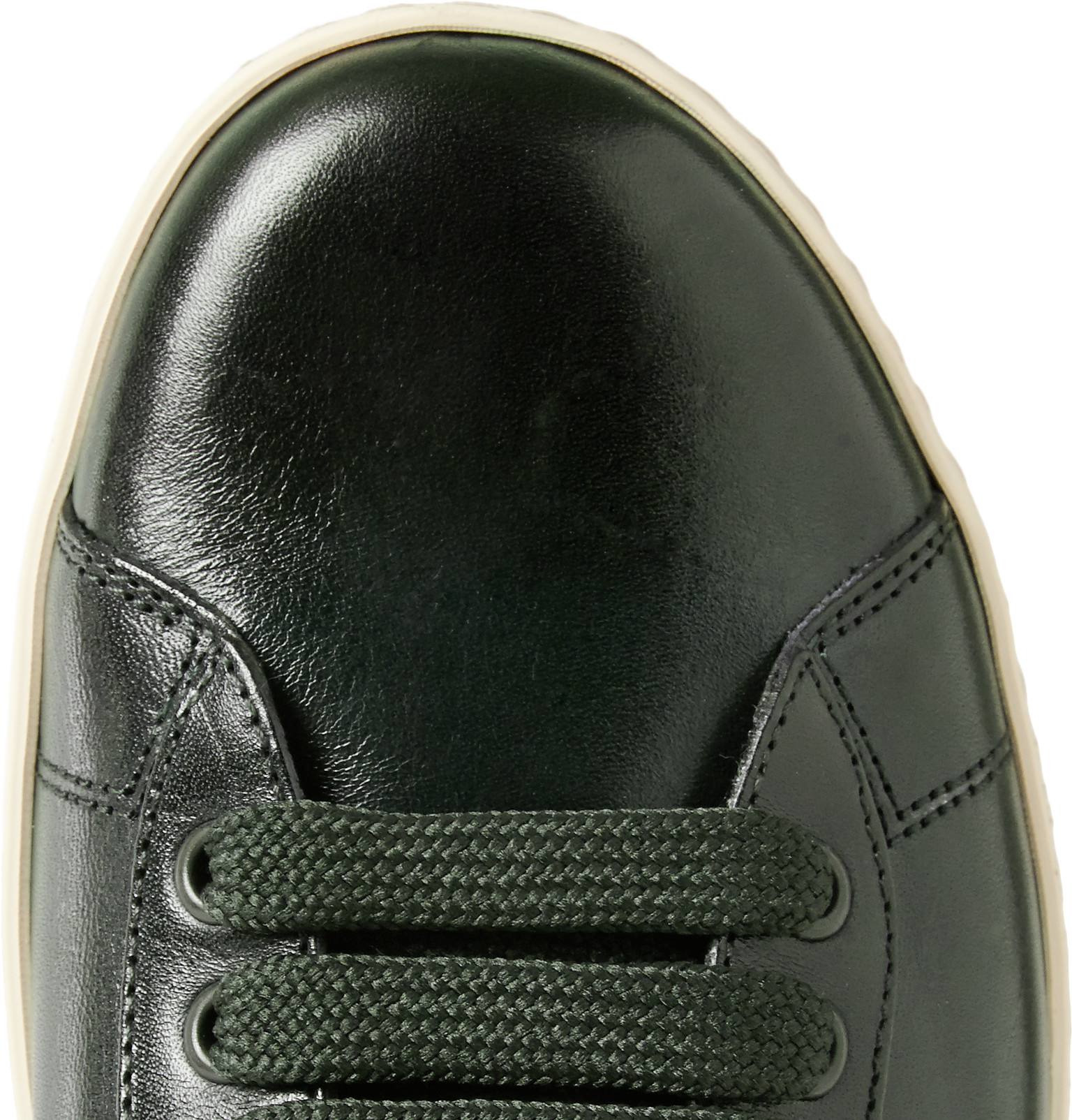 Tom Ford Leather Tennis Sneakers in Green for Men