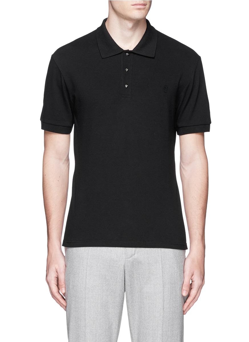 Alexander mcqueen stud button organic cotton polo short in for Black cotton polo shirt