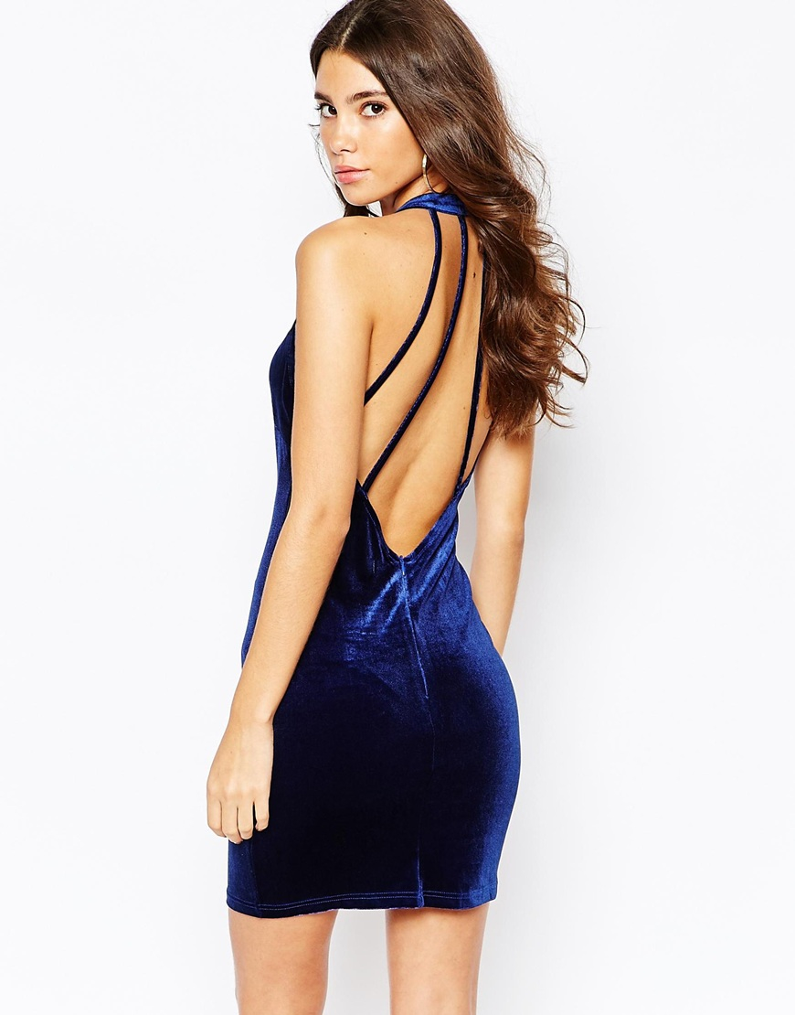 naanaa high neck velvet bodycon dress with necklace detail